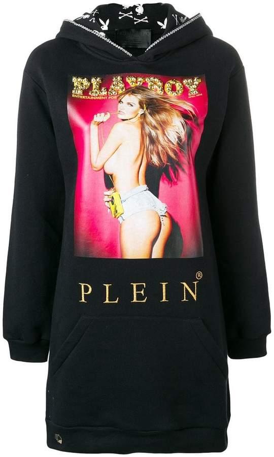 X Playboy printed hooded dress