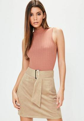 Missguided Nude Faux Suede Buckle Detail Mini Skirt
