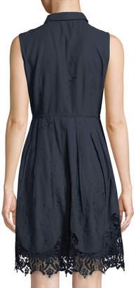 T Tahari Melitta Sleeveless Lace-Hem Shirtdress