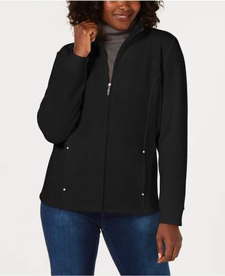 Karen Scott Petite Casual Zip-Front Jacket, Created for Macy's