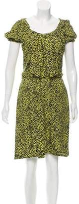 David Szeto Silk Short Sleeve Dress Yellow Silk Short Sleeve Dress
