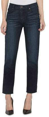 Parker Smith High-Rise Straight-Leg Ankle Jeans with Button Cuffs