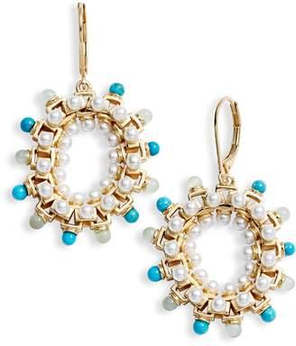 Sole Society Stone & Imitation Pearl Statement Hoop Earrings