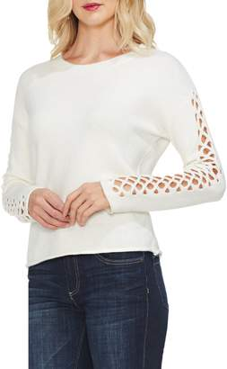 Vince Camuto Lattice Sleeve Cotton Blend Sweater