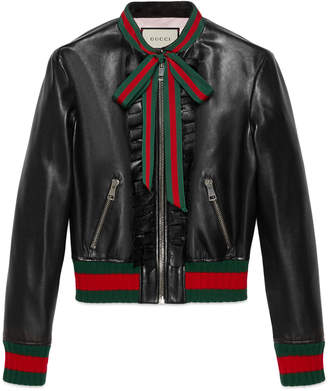 Gucci Ruffle leather bomber jacket