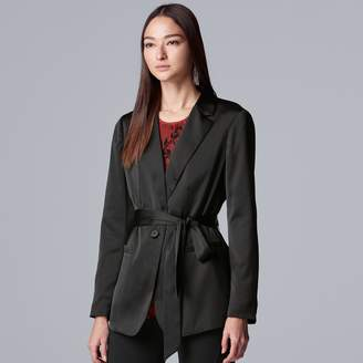 Vera Wang Women's Simply Vera Satin Tie-Waist Blazer