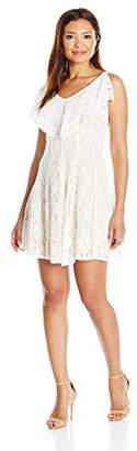 Julian Taylor Women's Petite Lace Fit and Flare Dress