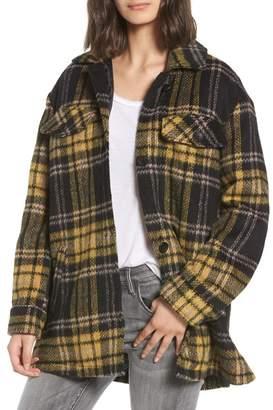 BP Front Pocket Plaid Coat