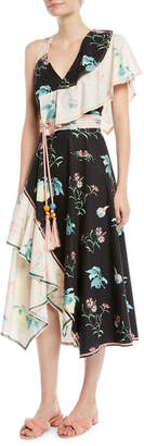 Peter Pilotto V-Neck Sleeveless Floral-Print Asymmetric Cotton Dress