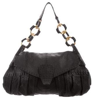 Valentino Leather Pleated Flap Bag