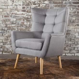 Noble House Tammy Fabric Mid Century Club Chair,Grey