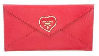 Prada Saffiano Heart Envelope Wallet