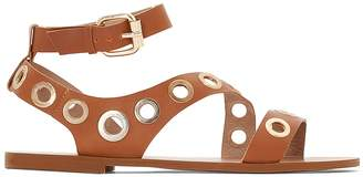 La Redoute Collections Flat Leather Sandals with Eyelet Detailing