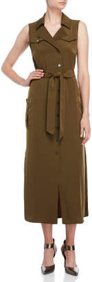 Karen Millen Olive Belted Midi Dress