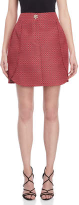 Atos Lombardini Red Printed Embellished Skirt