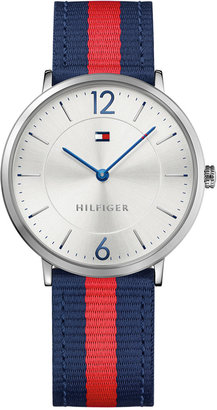 Tommy Hilfiger Men's Casual Sport Slim Navy and Red Striped Nylon Strap Watch 40mm 1791328 $125 thestylecure.com