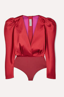 Silvia Tcherassi Deverell Satin-twill And Stretch-jersey Bodysuit - Red
