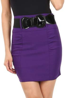 Sakkas IMShirrShortBelt01-2475 Petite Shirred Stretch Pencil Short Skirt with Wide Belt - / S
