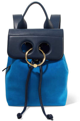 J.W.Anderson Pierce Mini Suede And Textured-leather Backpack - Blue