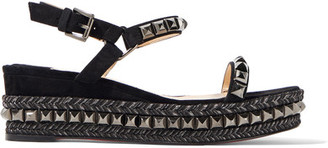 Christian Louboutin - Cataclou 60 Embellished Suede And Leather Wedge Sandals - Black $795 thestylecure.com