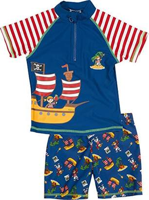 Playshoes Boy's UV Sun Protection 2 Piece Swim Set Swimsuit Pirate Island Shorts,6-9 Months