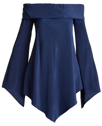Sies Marjan - Briar Off The Shoulder Silk Crepe De Chine Top - Womens - Navy
