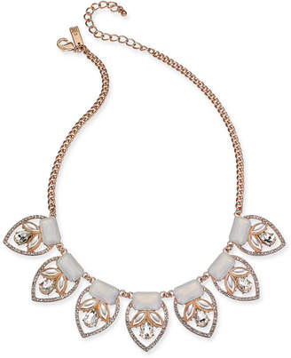"""INC International Concepts Inc Rose Gold-Tone Imitation Pearl, Stone & Crystal Statement Necklace, 16-1/2"""" + 3"""" extender"""