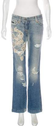 Dolce & Gabbana Embellished Mid-Rise Jeans