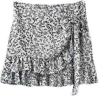 Goodnight Macaroon 'Roshni' Wrap Frill Floral Skirt (2 Colors)