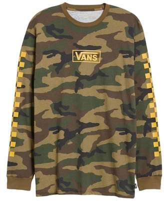 Vans Check Print Long Sleeve Camo T-Shirt