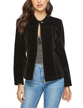 MEHEPBURN Women's Faux Suede Leather Jackets Long Sleeve Zipper Short Moto Biker Jacket S