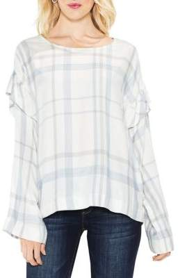 Vince Camuto Space Dye Long Bell-Sleeve Ruffled Plaid Blouse