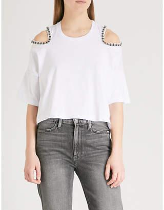 The Kooples Embellished cold-shoulder cotton-jersey T-shirt