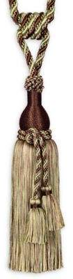 Single Tassel 10.5-Inch Tie Back in Brown/Green