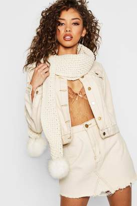 boohoo Faux Fur Pom Knitted Scarf