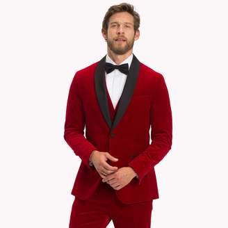 Tommy Hilfiger Burgundy Velvet Slim Fit Dinner Jacket
