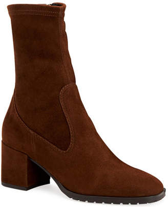 Aquatalia Cecilia Stretch-Suede Sock Booties