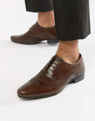 Asos DESIGN oxford brogue shoes in brown leather