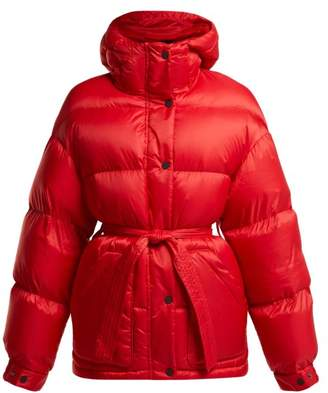 Perfect Moment - Hooded Quilted Down Ski Jacket - Womens - Red Multi