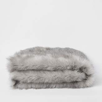 River Island Grey faux fur throw with panther face reverse