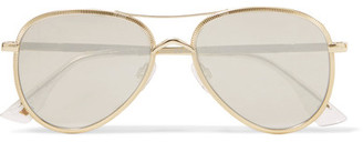 Le Specs - Empire Aviator-style Gold-tone Mirrored Sunglasses - one size $120 thestylecure.com