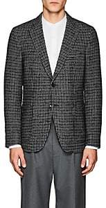 Officine Generale MEN'S HOUNDSTOOTH WOOL TWO-BUTTON SPORTCOAT-DK. BLUE SIZE 48 EU