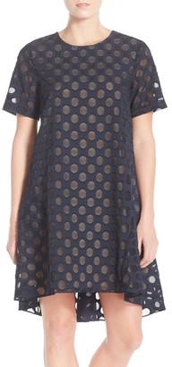 Donna Morgan Polka Dot Jacquard Trapeze Dress $158 thestylecure.com