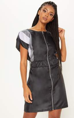 PrettyLittleThing Black Zip Front Shell Shift Dress