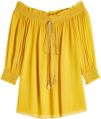Roberto Cavalli Silk Off-The-Shoulder Blouse