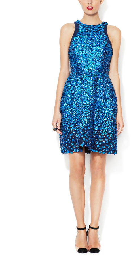 Monique Lhuillier Beaded Embroidered Racertop Dress