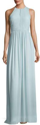 Halston Fortuny Plisse Back Drape Evening Gown