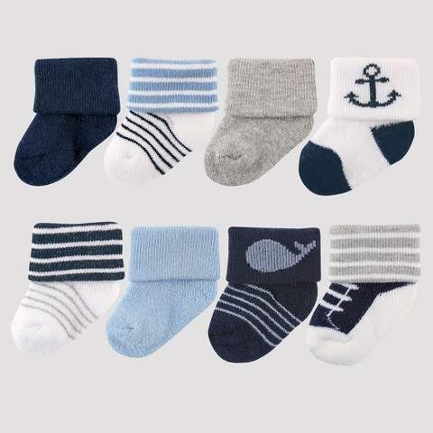 Baby Boys' 8pk Sock Set – Blue 0-6M