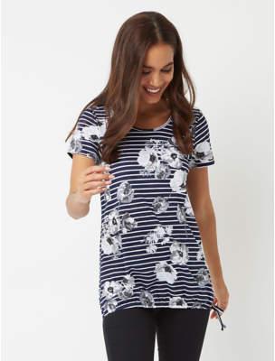 George Navy Stripe Floral Print Bubble Hem Top