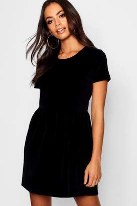 boohoo Velour Short Sleeve Gathered Waist Dress
